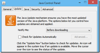 cant see java update tab